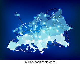 Europe map polygonal