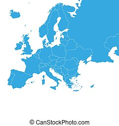 Europe map with country borders, vector illustration. - ...