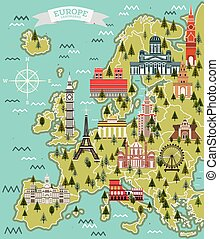 Europe Map with Famous Landmarks.