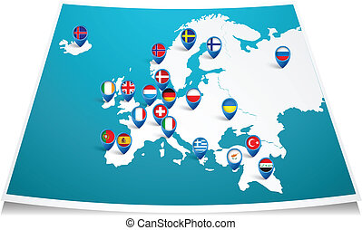 Europe map with flag pin