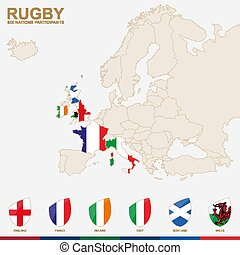 Europe Map with highlighted Rugby Championship participants