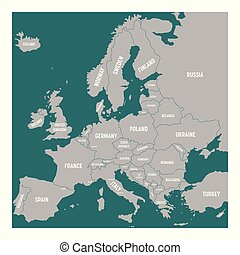 Europe map with names of sovereign countries