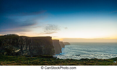 europe., moher, clare, 日没, アイルランド, 崖, co.
