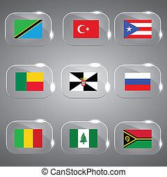 europe, mondiale, drapeaux
