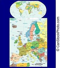 europe, mondiale, politique, carte