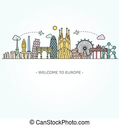Europe monument. Line art style - Europe monument Vector. ...
