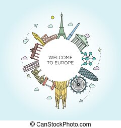 Europe monument line style - Europe monument Vector. Line...