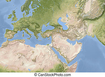 Europe, North Africa and Near East. Shaded relief map....