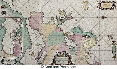 Europe old map bis - Old map of Europe with eastern...