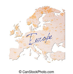 Europe - Old paper with handwriting