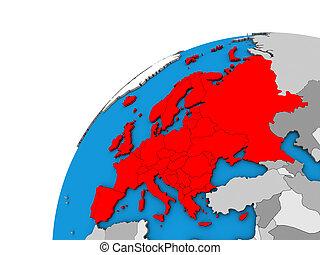 Europe on 3D globe
