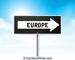 Europe on black road sign