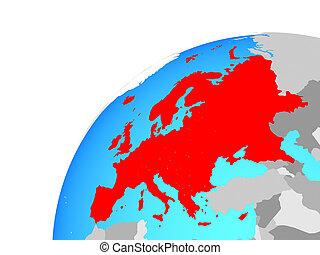 Europe on globe