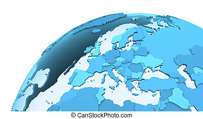 Europe on translucent Earth - Europe on translucent model of...