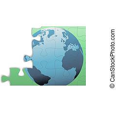 europe, oriental, puzzle, puzzle, hémisphère, globe terre