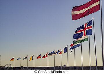 europe, pays, drapeaux, oscillation
