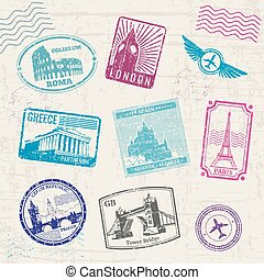 europe, pays, voyage, landmarks., collection, timbres, vecteur