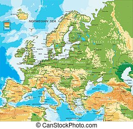 Europe - physical map - Highly detailed physical map of...