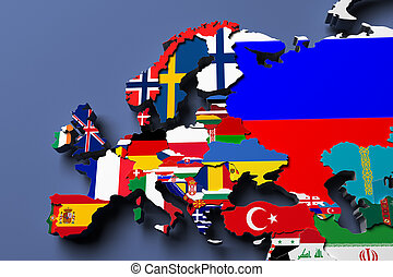 Europe political map 3d rendered image