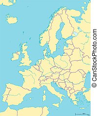 Europe Political Map and the surrounding region. Countries...