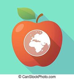 europe, pomme, globe, afrique, long, régions, asie, mondiale, ombre, rouges, icône