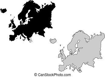 europe, projection., map., noir, white., mercator