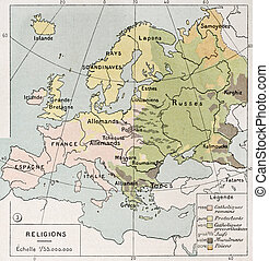 Europe religions - Old religions map of Europe. By Paul...