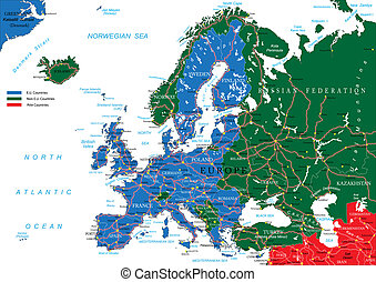 Highly detailed vector map of Europe with countries, main cities and roads.