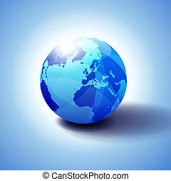 Europe, Russia and Africa, Global World, Globe Icon 3D ...