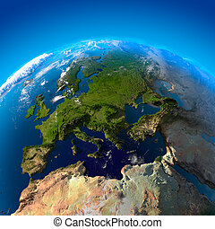 europe, satellites, vue, hauteur