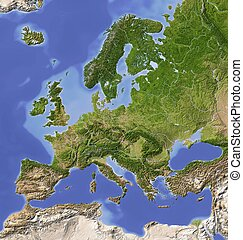Europe. Shaded relief map with major urban areas. Colored according to vegetation.