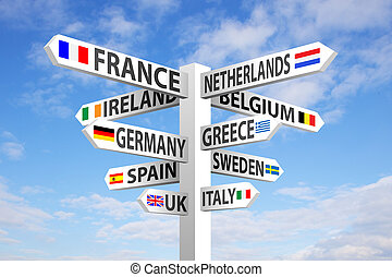 Europe destinations and flags signpost against blue sky