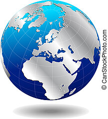 Europe Silver Global World - Map Icon of the World Globe