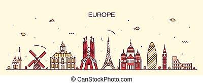 Europe skyline detailed silhouette line art style