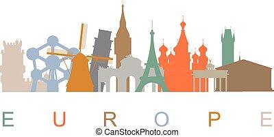 Europe skyline landmarks silhouettes. Vector illustration