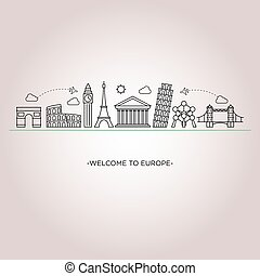 Europe skyline line style - Europe skyline detailed ...