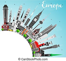 Europe skyline silhouette with different landmarks and copy space.