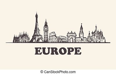 Europe skyline vintage vector illustration, hand drawn buildings
