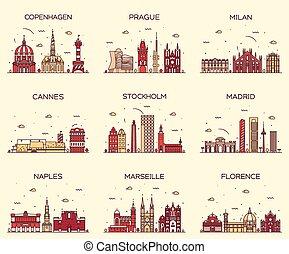 Europe skylines Prague Cannes Madrid line art - Europe...