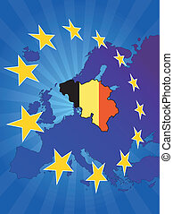 europe star belgium - illustration of belgium map with ...
