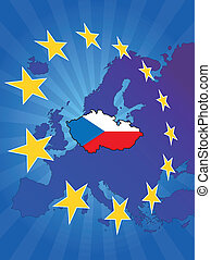 europe star czech - illustration of czech map with europe ...