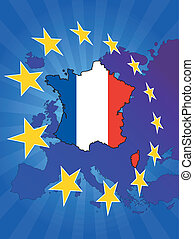 europe star france - illustration of france map with europe ...