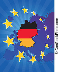 europe star germany - illustration of germany map with ...