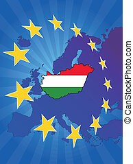 europe star hungary - illustration of hungary map with ...