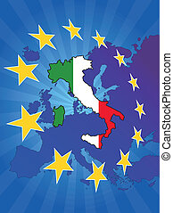 europe star italy - illustration of italy map with europe ...