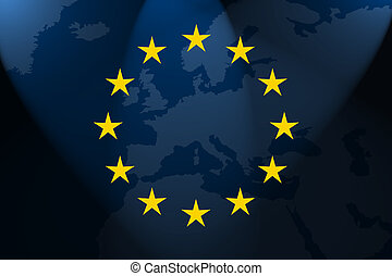 europe - the flag of europe in front of the map