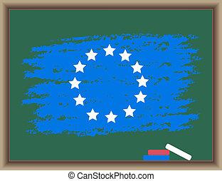 europe, tableau noir, drapeau
