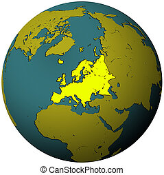 europe territory on map of globe(orthographic projection)