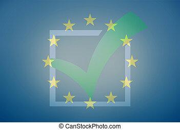 Europe Tick Check Design Blue graphic
