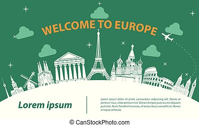 Europe top famous landmark silhouette style on white curve,trip and tourism